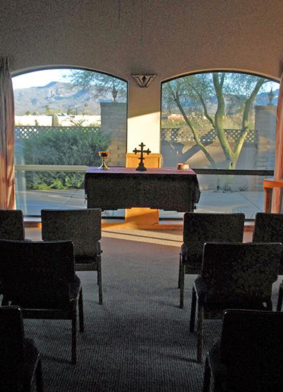 sunset chapel at spirit in the desert