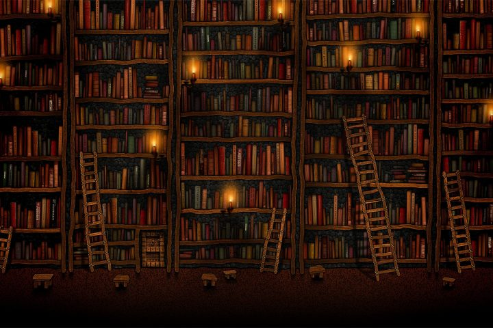 A wall of books is used to illustrate the Spirited Book Club
