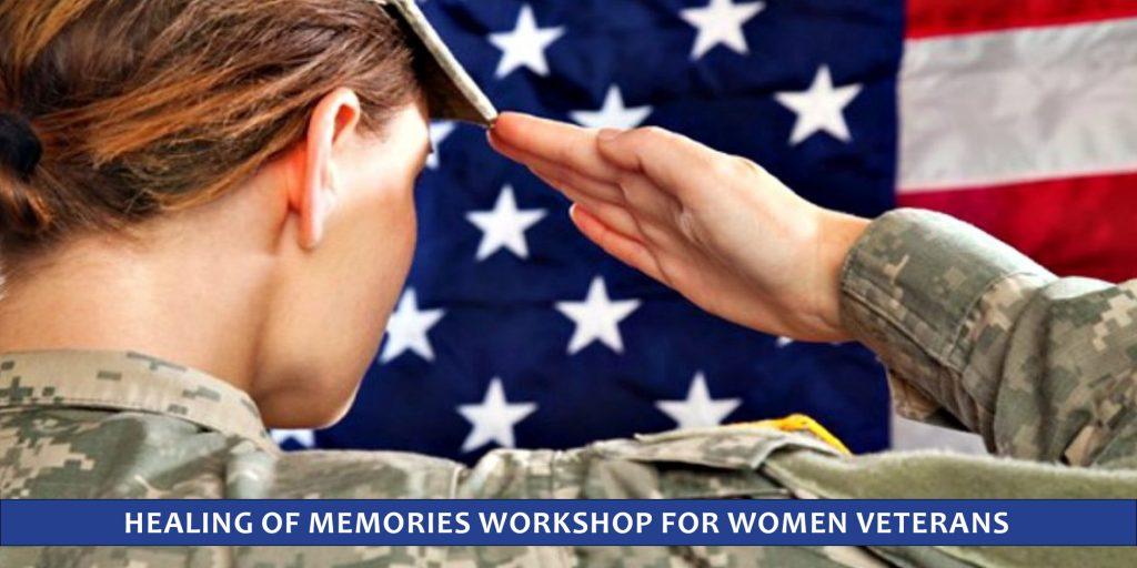 Woman veteran salutes the flag illustrating the Healing of Memories retreat for women veterans