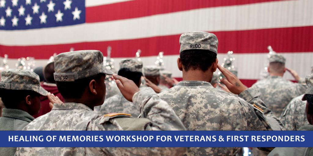 Army veterans saluting the flag illustrates Healing of Memories Workshop at Spirit in the Desert